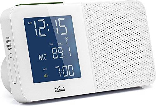Braun BNC 010 Tragbares Radio Uhr Weiß – Tragbare Radios (Horloge, Blau, Weiß, AA, LR6, 1,5 V, 180 x 56 x 90 mm, LCD)
