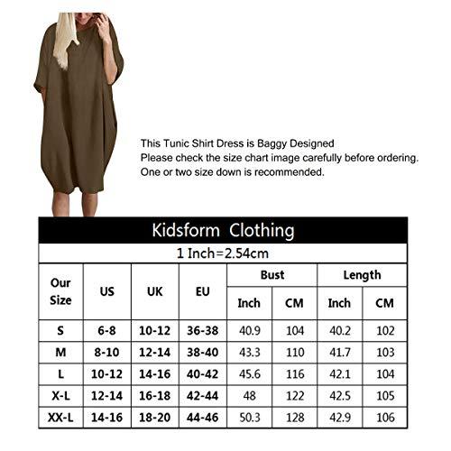 Kidsform Vestido de Talla Grande para Mujer Vestido de Otoño de Primavera Túnica de Gran Tamaño Mini Vestido Manga Corta Cuello Redondo con Bolsillos Casual H-Verde Militar 2XL