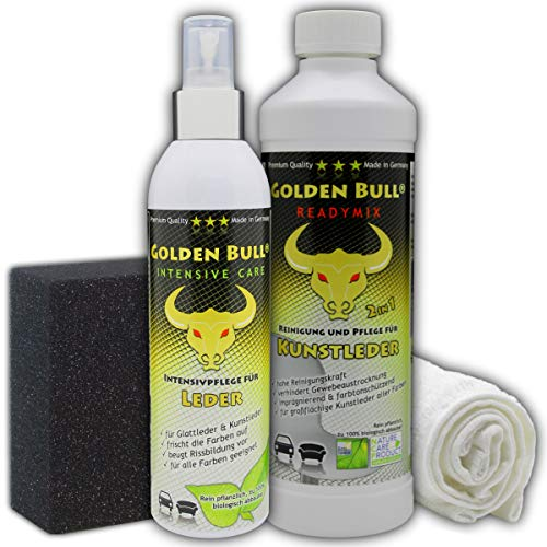 GOLDEN Bull für Kunstleder Set 4-teilig, Readymix 500ml (Kunstlederreiniger, Kunstlederpflege) + Intensive Care 250ml (Intensivpflege) + Spezialschwamm + Baumwolltuch, biologisch ökologisch
