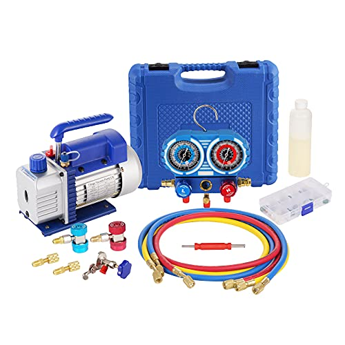 3.6CFM 1/4HP Single-Stage Vacuum Pump and Manifold Gauge Set R410A, R22, R134A, R404A Anticollision with Carrying Tote for HVAC A/C Refrigeration Recharging and Maintenance