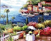 番号によるDiyペイント番号付きツール絵画ペイントビーチリゾート番号付きツール絵画大人の子供初心者油絵家の装飾