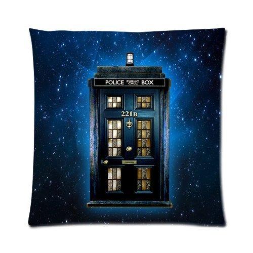 HX-LDS Tardis Doctor Who Mashup mit Sherlock 221B Tür Reißverschluss Kissen Fall 45,7x 45,7cm (Zwei Seiten)
