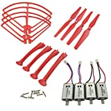 Upgraded Spare Parts for Syma X8C X8G X8HW RC Mini Quadcopter Toy Motor Main Blade Propellers Propeller Protectors Blades Frame Landing Skids with Screws Set (Red)