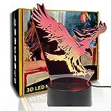 JINYI Lámpara de noche 3D Flying Big Eagle, lámpara de mesa visual LED, decoración de bar, G- Control de Telefonía Móvil, Regalo de amante, Lámpara visual