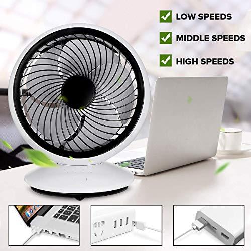 Draagbare elektrische ventilatoren Mini-bureauventilatoren/USB Oplaadbaar / 3 snelheden / 270 ° Automatische rotatie/Zes-bladige/Demonteer tafelventilatoren
