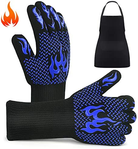 BBQ Gloves Grill Gloves 1472 Heat Resistant Cooking Oven Mitts and Apron Sets 14 Inch Long Kitchen product image