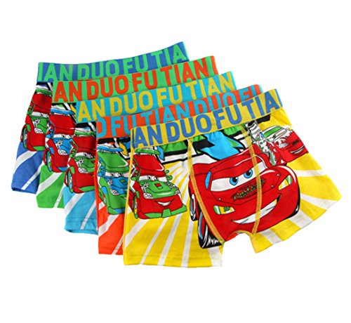 2-8 Years Old Boys Cotton Cars Print Boxer Briefs Underwear Multicolor 5 Pack