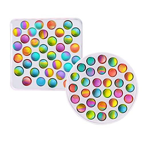 Gmajtars Push Pop Zappeln Spielzeug Simple Fidget Sensory Toy Pop Bubble Anti Stress Silikon Spielzeug Lindert Angstzustände Sensorisches Spielzeug für Kinder und Erwachsene (Quadrat + Kreis)