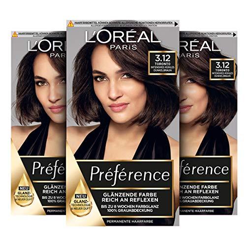 L'Oréal Paris Préférence 3.12 Intensives Kühles Dunkelbraun (Toronto) 3er Pack(3 x 183 g)