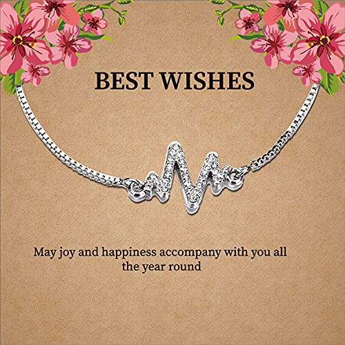 Pulsera de plata con latido de corazón para mujer, ajustable, plata 925, pulsera de cristal de roca, mejor amigo, mujer, hermana o mamá, regalo para el Día de la Madre