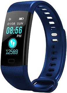 Pulsera de Actividad Inteligente Impermeable IP67,0,96 Pulgadas Pantalla Color Reloj Deportivo con Rtmo Cardíaco, Presión Sanguínea, Sueño Monitor, Contador y Calorías para Android y iOS(Color:Azul)