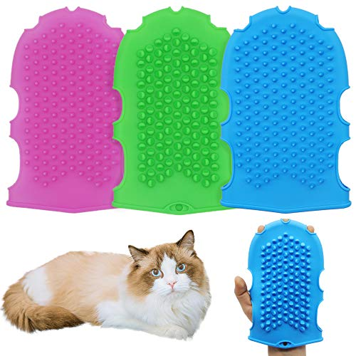 KTWD Pet Bath Massage Removal Gloves Short-haired Dogs and Cats Horse Shedding Hair to Clean up The Hair Soft and Gentle Silicone Washing Brush Grooming Glove Comb (3pcs /Pack)