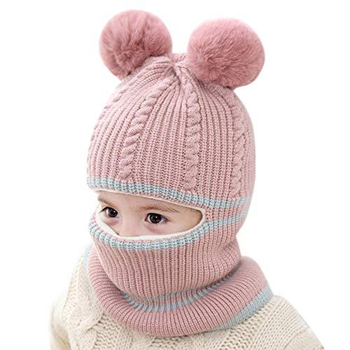 DAYOLY - Gorro de punto de invierno para bebé, conjunto de bufandas, gorro de punto suave y cálido, gorro de lana con pompón y pañuelo para niños