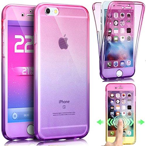 Coque iPhone 6S Plus,Coque iPhone 6 Plus,ikasus Intégral 360 Degres avant + arrière Full Body Protection Couleur de dégradé Transparente Silicone Gel TPU Souple Housse Etui Case Coque,Rose Violet