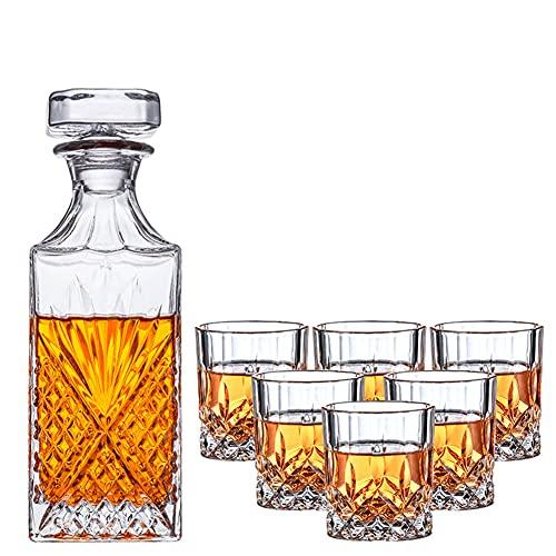 HHORB Decantador Y Vasos De Whisky Set con Cuerpo Grabado, Juego Aireador De Whiskey Y Vaso Whisky De Vidrio De Cristal, 100% Sin Plomo, Set De 7 Piezas - 1 Jarra (800 Ml) Y 6 Vasos (300 Ml)