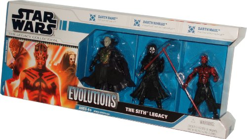 Star Wars 2008 The Legacy Collection Evolutions 3 Pack 4 Inch Tall Action Figure - The Sith Legacy with Darth Bane from The Old Republic, Darth Nihilus from Knights of the Old Republic and Darth Maul from The Phantom Menace