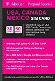 T-Mobile Canada, Mexico and USA Prepaid SIM Card w/UNLTD 4G LTE Data in USA and 5GB Data in Canada and Mexico with Unlimited INTL Calling (for Phone use only. NOT for Modem/WiFi Devices) (30 Days)