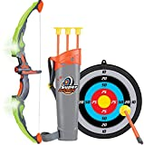 Click N' Play Light Up Bow & Arrow Archery Set Outdoor Hunting Play with 3 Suction Cups Arrows Target & Quiver for Kids