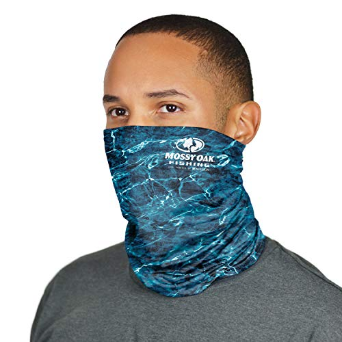 Mission Cooling Neck Gaiter 12+ Ways To Wears, Face Mask, UPF 50, Cools when Wet- Mossy Oak Agua Marlin