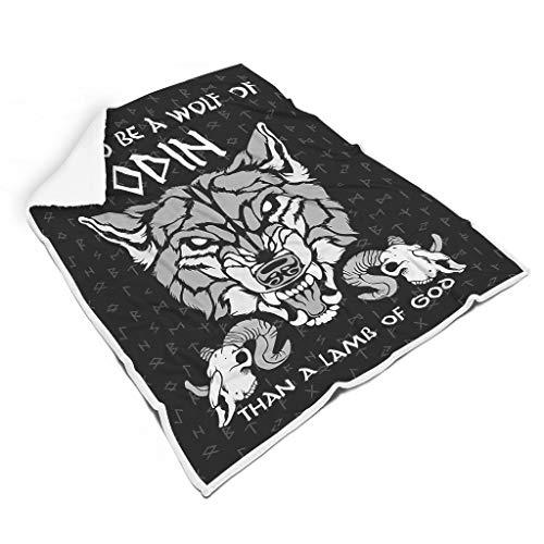 Quadratischer Teppich Wikinger Wolf von Odin Polar-Fleece, weiches Material, europäischer Stil, Muster für Geburtstag, Couchtisch und Heimdekoration und eine für Familie, weiß, 152,4 x 203,2 cm