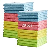28 Pcs Microfiber Cleaning Cloths, 13'' x13'' Absorbent Kitchen Dish Cloth Set, No Odor Household Dust Cloths, Soft & Lint Free Cleaning Rags, Multi-Use Cleaning Towel, 4 Colors