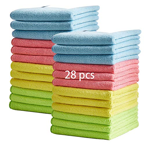 28 Pcs Microfiber Cleaning Cloths Super Absorbent Household Dust Cloths Soft amp Lint Free Cleaning Rags Cleaning Towel for Household Cleaning 4 Colors 13#039#039 × 13#039#039