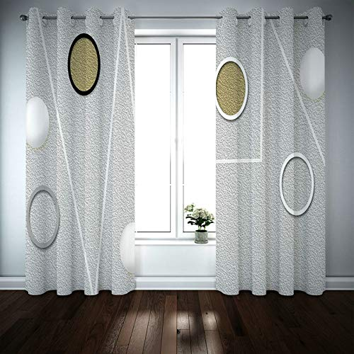 Kihomedy Tab Curtains for Bedroom, Matte Geometric Pattern Grey Window Treatment for Living Room/Nursery 84X54 Inch 2 Panels