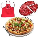 33 cm Keramik Pizzastein Set - Premium runder Backstein für Grill oder Ofen + Mehrzweckregal mit Griffen, 6 Teller, Schürze - Kochzubehör für gleichmäßiges Backen von Pizza, Brot, Keksen von La&Li