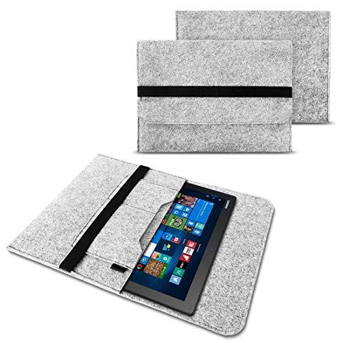 NAUC Tasche Hülle für Hülle Cover Notebook für Lenovo Miix 510/700 / 720 Filz Sleeve Schutzhülle aus Filz mit Innentaschen & sicheren Verschluss, Farben:Hell Grau