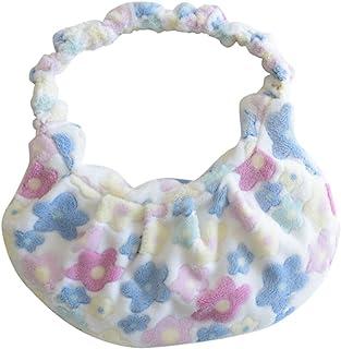 VALICLUD Hobo Bag Large Capacity Furry Handbag Shoulder Tote Bag Fluffy Purse Floral Flower Purse for Women