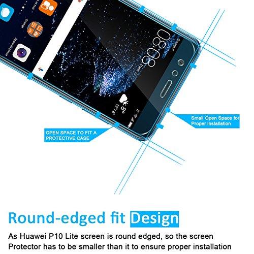 NEW'C PanzerglasFolie Schutzfolie für Huawei P10 Lite, [2 Stück] Frei von Kratzern Fingabdrücken und Öl, 9H Härte, HD Displayschutzfolie, 0.33mm Ultra-klar, Displayschutzfolie Huawei P10 Lite - 3