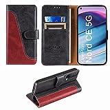 FMPCUON Handyhülle für OnePlus Nord CE 5G Hülle Leder,Premium Klapphülle Handytasche Flip Hülle Handy Hüllen Schutzhülle für OnePlus Nord CE 5G (6.43 Zoll),Rot/Schwarz