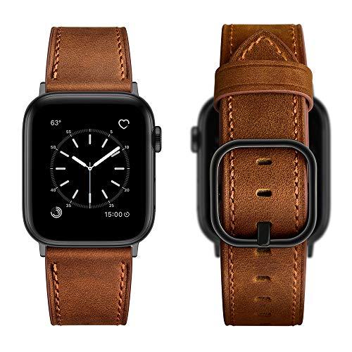 Aottom Correa Compatible con Cuero Correa Apple Watch 6 44mm Correa Apple Watch 6 Pulseras Repuesto Piel Reloj Apple Watch SE Hombres Correas Apple Watch SE para Series 6/5/4/3/2/1, Retro Brown