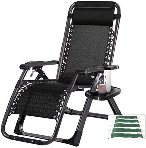 OESFL Cero Gravedad Silla Silla reclinable Plegable Silla de salón w/sostenedor de Taza de la Bandeja de Accesorios, reposacabezas Almohada - 440lbs de Apoyo