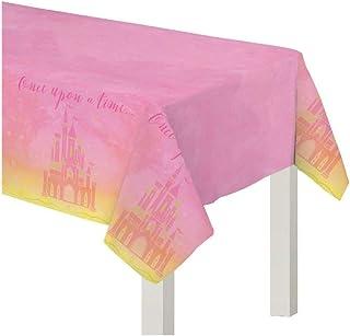 امسكان 572357 غطاء طاولة حفلات ديزني برينسيس من البلاستيك الزهري والاصفر، 54 انش × 96 انش، قطعة واحدة