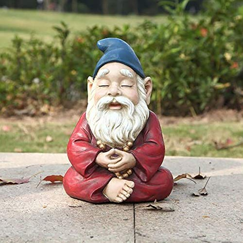 Zen Garden Gnome Statue, Buddha Yoga Trough Meditation Garden Gnome Statue, Naughty Polyresin Garden Sculpture Funny Lawn Figurine for Lawn Yard Balcony Patio Home Ornaments Decor (B)