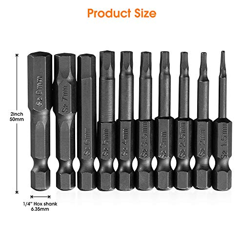 10PCS Hex Head Allen Wrench Drill Bit Set, VAKOGAL S2 Steel Hex Head Screwdriver Bit Set, with Magnetic, 1.5-8mm Metric, 1/4 Inch Hex Shank, 2 Inch Length, for Hand Held Wrench and Electric Drills