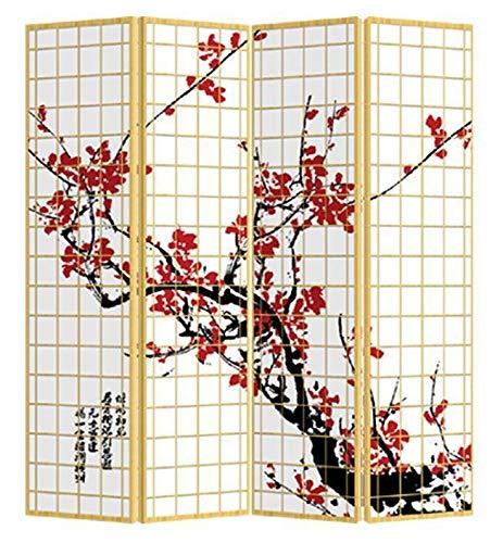 Fine Asianliving Paravent Raumteiler Trennwand Spanische Wand Raumtrenner Sichtschutz Japanisch Orientalisch Chinesisch L160xH180cm Bedruckte Canvas Leinwand Doppelseitig Asiatisch -203-303