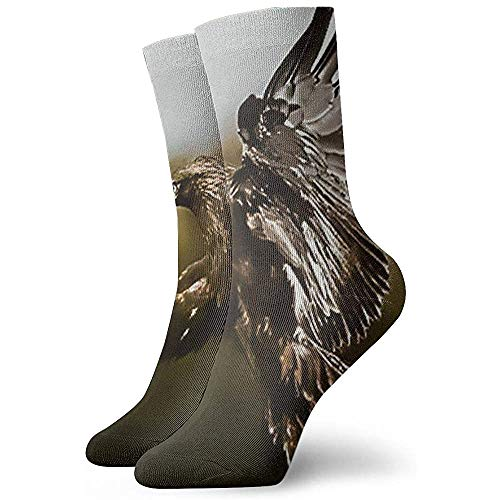 Kevin-Shop Flying Golden Eagle Soft Calcetines Casuales Transpirables de Tobillo Alto Más Gruesos Debajo de la Rodilla Calcetines cómodos