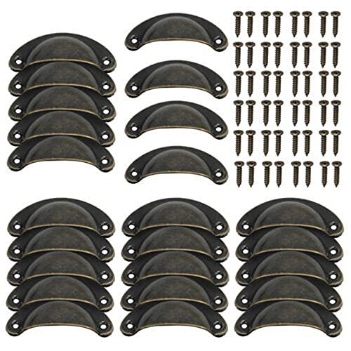 Manijas de tirador de carcasa de 24 piezas, manijas de perilla de gabinete vintage para puerta de armario, cajón, muebles, herrajes, bronce