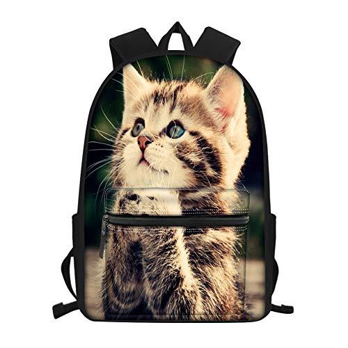 Showudesigns Kinder-Rucksack, Tiermotiv, für Jungen und Mädchen, Schultasche mit Wasserflaschenhalter, lässige Büchertaschen, Teens, Reiserucksack Braun Katze Süß Einheitsgröße