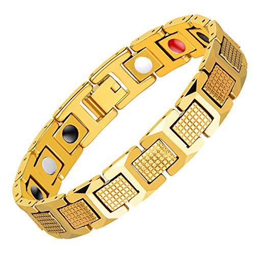 SH-JTL Heren RVS Armband met Titanium Staal En Elektroplating, Hypoallergeen Retro, Geschikt voor Vermakelijke Feesten Of Geschenken (Goud)