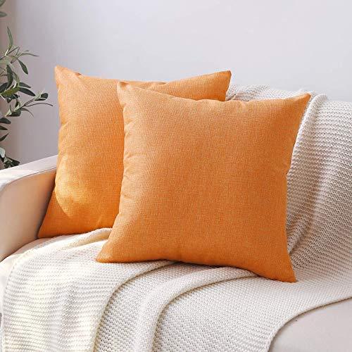 Belle10Bob Juego de 2 fundas de almohada grandes de color naranja de 60 x 60 cm, cuadradas, de lino, decoración rústica, funda de cojín para sofá, hogar, decoración de granja