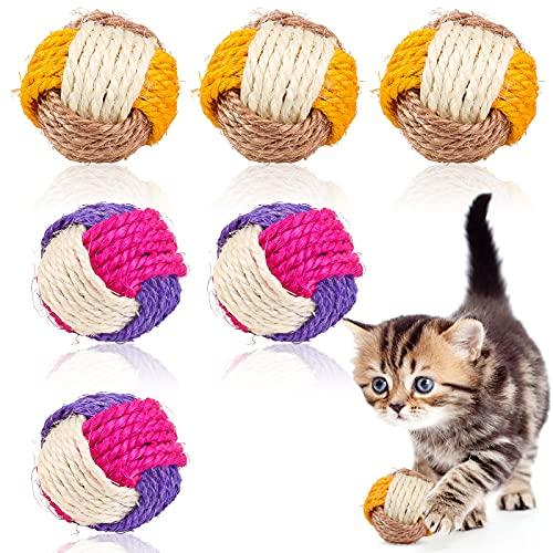 6 Stück Katze Sisal Ball,Haustier Katzen Spielzeug Bälle,Umweltfreundliche Kätzchen Bälle,Sisal Seilball,Kätzchen Spielzeug Interaktive,Katzenspielzeugball