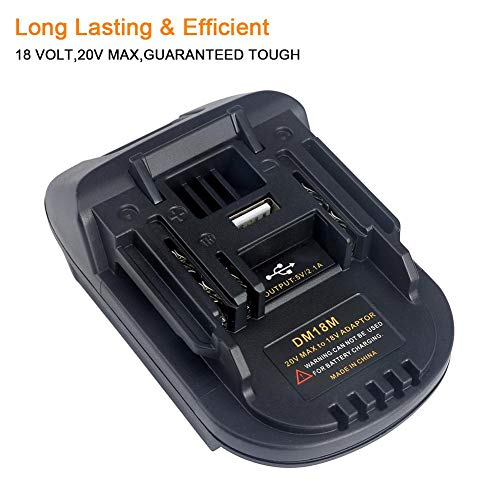 Gereton Neuer 18V Batterie-Adapter DM18M umgewandelt in Li-Ion Ladegerät Werkzeug Konverter für MAKITA Batterien DM18M Batterie-Adapter mit USB-Ladeanschluss