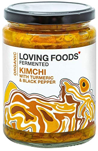 Loving Foods *Certified Organic* Turmeric & Black Pepper Kimchi (500g) Raw, Unpasteurised & Bursting with Beneficial Live Bacteria (1 x Jar)