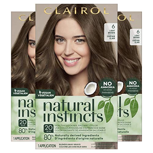 Clairol Natural Instincts Semi-Permanent Hair Color, 6 Light Brown, 3 Count