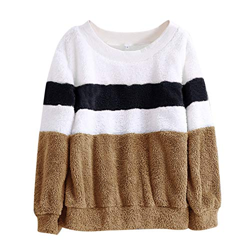 Franterd Women Color Matching Plush Warm Sweater Loose Long Sleeve Jumper Baggy Pullover Top Blouse Sweatshirt