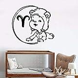 wZUN Pegatinas de Pared Zodiaco bebé constelación de Aries habitación de niños Dormitorio de niños decoración del hogar Vinilo Adhesivo de Pared 68X74cm