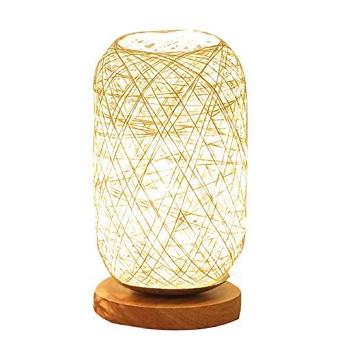 RONGXIANMA Lámpara de Mesa Lámpara de Mesa de Cuerda de ratán de Madera Lámpara de Mesa Lámpara de Mesa de decoración de Arte para el hogar de habitación